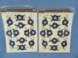 1970's Vintage Meyercord Water Decals Purple Pansies Violets 2 Sheets - $12.00