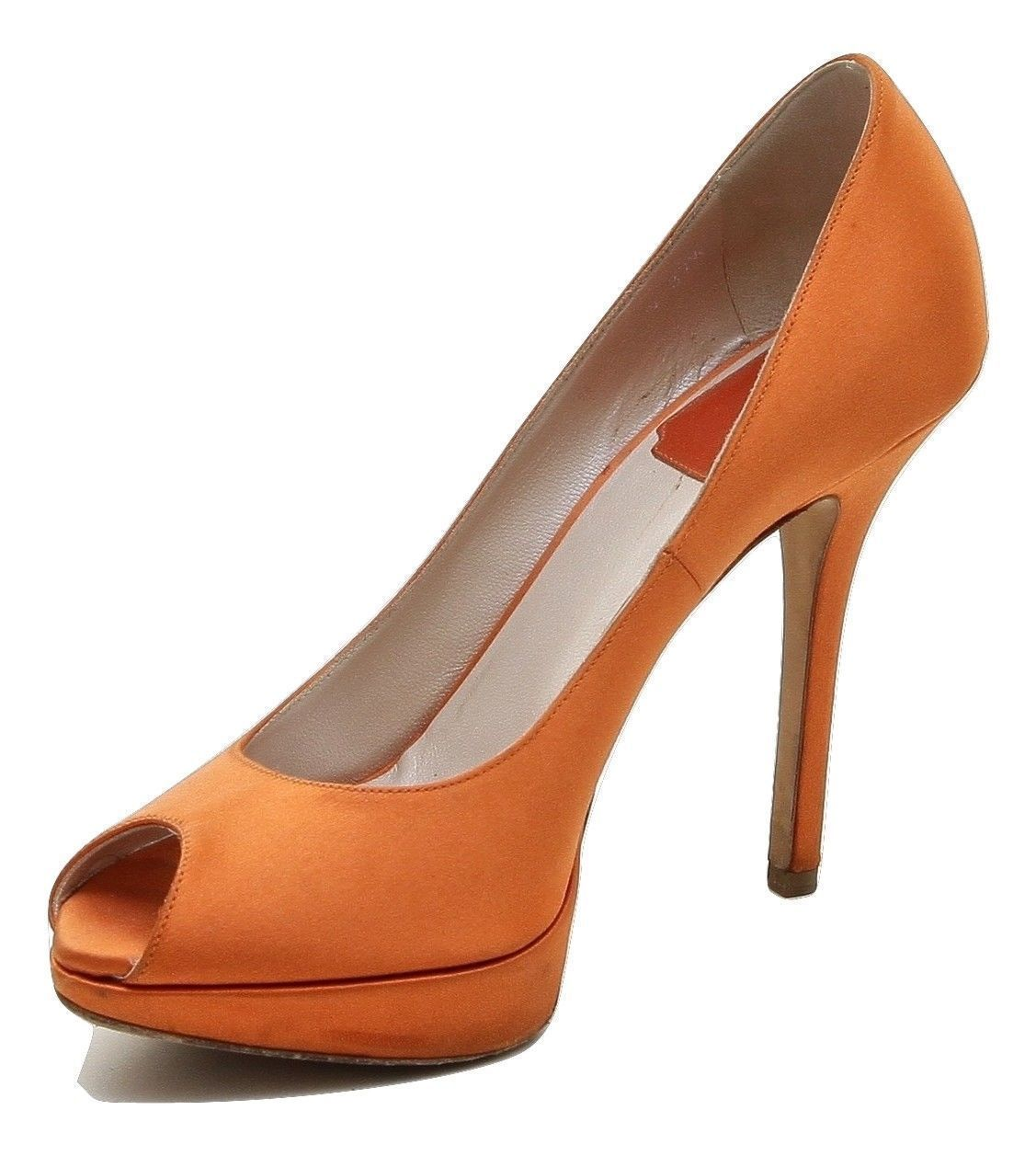 1b60be9dd1ce CHRISTIAN DIOR Pump Platform Orange Satin Leather Peep Toe Gold HW 37.5