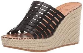 Dolce Vita Women's Prue Wedge Sandal, Black Leather, 11 M US - $30.82
