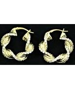 Sterling Silver Gold Tone Rhinestone Twist Hoop Snap Close Earrings Free... - $17.81