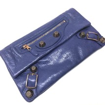 AUTHENTIC BALENCIAGA The giant envelope Pouch Clutch bag purple Leather/... - $365.00