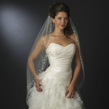 Single Layer Veil with Crystals, Bugle Beads & Silver Vine Embroidery - $99.99