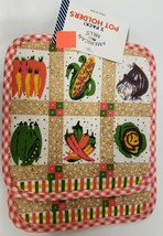 "2 Same Printed Kitchen Pot Holders (7"" x 7""), 6 VEGETABLES IN SQUARES by AM - $7.91"