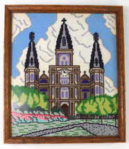 Vintage Latch Hook Needle Point Cathedral Church Framed Textile Wall Art... - $48.50