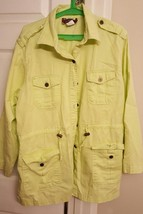 DENIM & COMPANY ~ LIGHT LIME GREEN BUTTON FRONT DRAWSTRING JACKET ~ Size... - $9.89