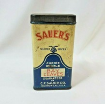 "Vintage Sauers Spices Bay Leaves Advertising 4.75"" Tin Richmond Virginia... - $29.44"