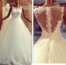 Plus Size Maternity Ball Gown Tulle Wedding Dress Lace Appliques  - $189.99