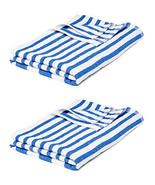 Marquis Mills 4 Poolside Beach Pool Spa Towels Striped Blue & White 300 GSM 100% - $21.77