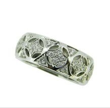 Wide 14k White Gold Genuine Natural Diamond Pierced Band 1/2cts (#J3738) - $795.00