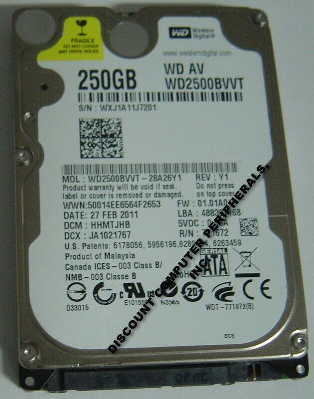 NEW 250GB SATA 2.5 inch 9.5MM Hard Drive WD WD2500BVVT Free USA Shipping
