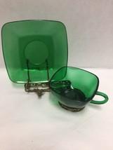 Anchor Hocking Emerald Green Glass Square Tea Cup Saucer Set Vintage - $24.74