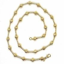 18K YELLOW GOLD CHAIN FINELY WORKED 5 MM BALL SPHERES AND TUBE LINK, 19.7 INCHES image 2