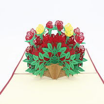 Yellow And Red Roses--3D Greeting Card, Pop Up Card, Pop Out Card - $6.50