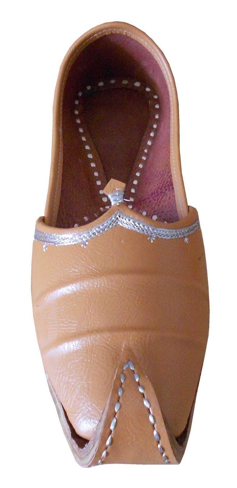 Men Shoes Jutti Indian Brown Handmade Leather Espadrilles Flat Mojari US 10  - $39.99
