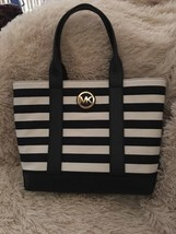 MICHAEL KORS Fulton navy/white Stripe Canvas Leather nautical TOTE Bag NEW - $149.00