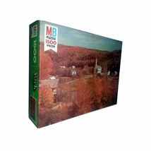 Vintage Milton Bradley 1500 Piece Puzzle York Series Woodbury VT - $14.23