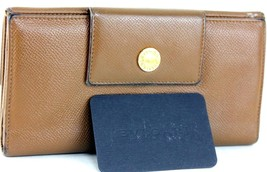 Authentic BVLGARI Vintage Brown Leather Bifold Long Wallet Coin Card Cas... - $107.91