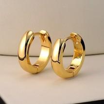 "18k Yellow Gold Filled Smooth Earrings 14MM Women""s Hoop 3mm GF Fashion ... - $23.80"