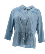 Joan Rivers 3/4 Slv Embroidered Denim Jacket Light Chambray L NEW A304770 - $55.42