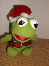 "Vintage 1987 Jim Henson Muppets BABY KERMIT Christmas 7"" Plush with Sant... - $4.95"