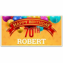 Balloons and Confetti 70th Birthday (or any age) Party Banner Party Decoration - $23.42+