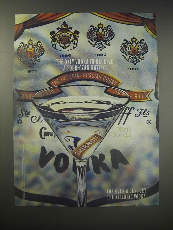 1990 Smirnoff Vodka Ad - The only Vodka to receive a four-czar rating - $14.99