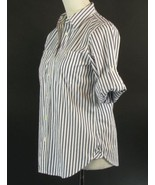 RALPH LAUREN Size S 4 6 Navy White Striped Cotton Shirt Blouse - $17.99