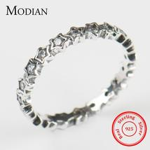 Luxury Original Delicate Solid 925 Sterling Silver stars Finger Ring Aut... - $12.95