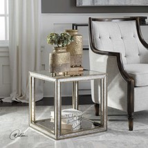 MOTTLED ANTIQUED MIRROR AGED GOLD LEAF WOOD END ACCENT TABLE MODERN CUBE... - $327.80