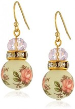 1928 Jewelry Pink Floral Decal Beaded Drop Earrings - $50.48
