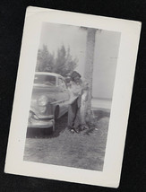 Old Antique Vintage Photograph Woman Holding Huge Fish By Antique Car - $6.93
