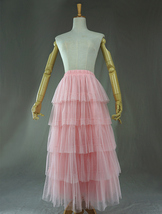 PINK TIERED Tulle Skirt Lady High Waist Tiered Tulle Party Skirt Princess Outfit image 7