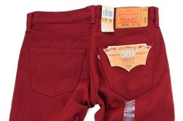 NEW LEVI'S 501 MEN'S ORIGINAL FIT STRAIGHT LEG JEANS BUTTON FLY RED 501-1581