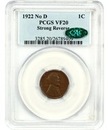 1922 no D Strong Reverse 1c PCGS/CAC VF20 - Affordable Key Variety - $814.80