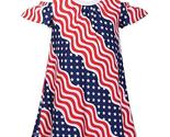 Bonnie Jean July Fourth Patriotic Wavy Stars and Stripes Little Girls Dress 2T-3