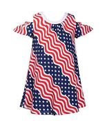 Bonnie Jean July Fourth Patriotic Wavy Stars and Stripes Little Girls Dr... - $24.99+