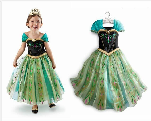 Tea Length Essar  Pricess Cosplay Dress Caped Sleeve Kids Party Gowns Halloween