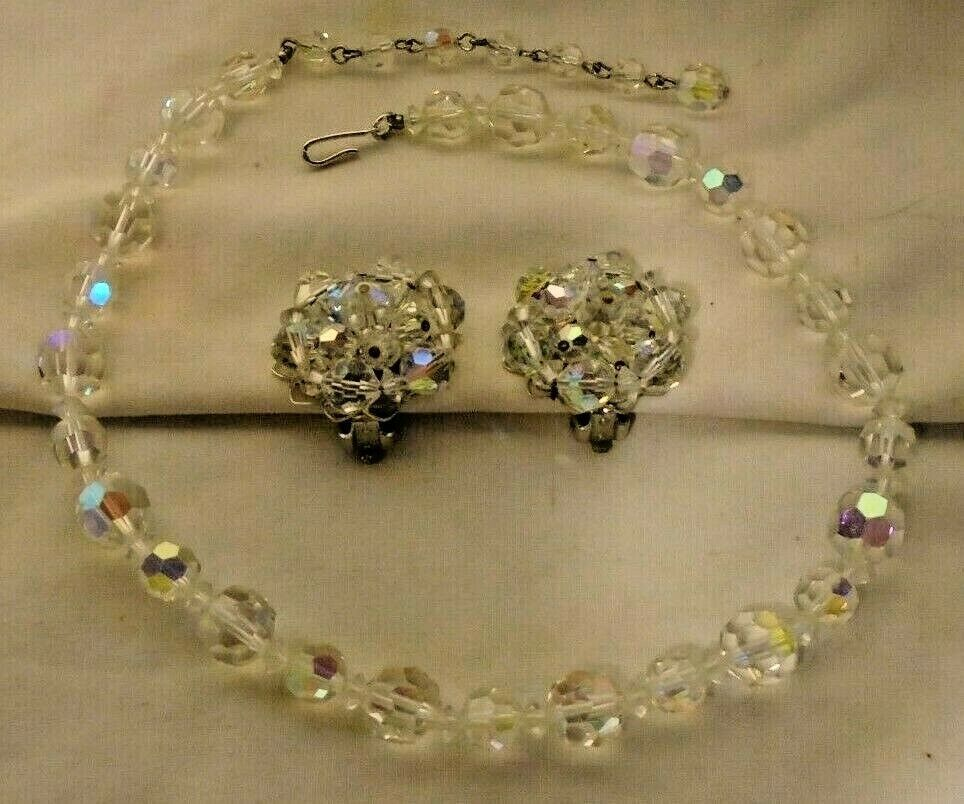 Vintage Aurora Borealis Faceted Lead Crystal Choker Necklace w/ Clip Earrings