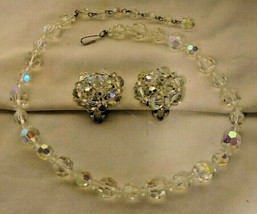 Vintage Aurora Borealis Faceted Lead Crystal Choker Necklace w/ Clip Ear... - $12.38