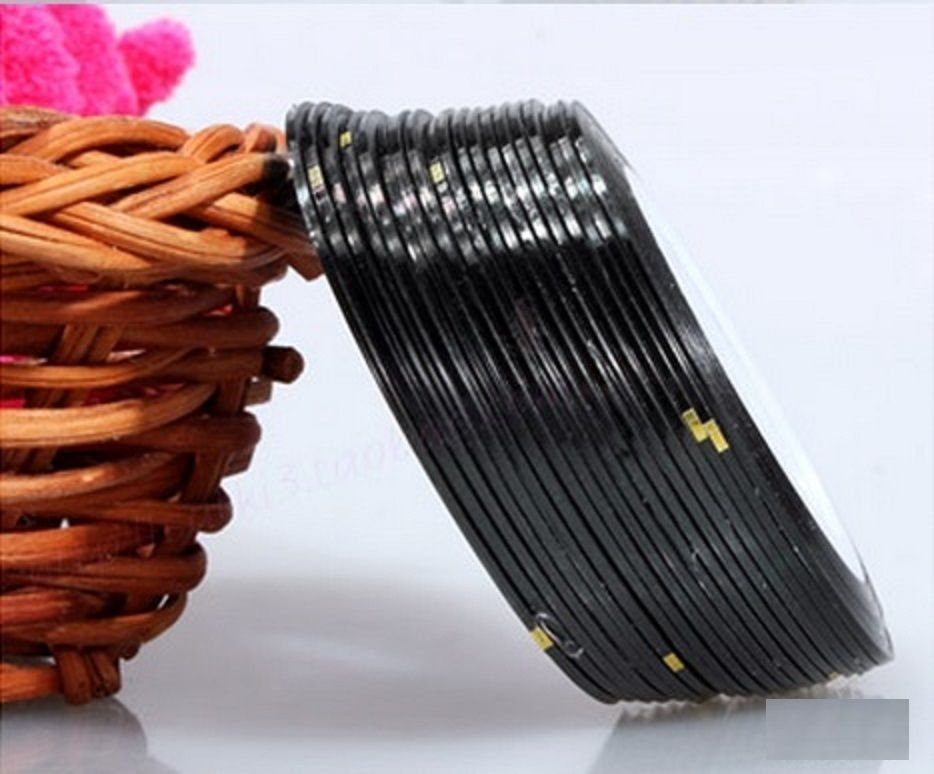 Primary image for AA3: 2PCS BLACK Rolls Striping Tape Line Nail Tips Sticker DIY w/Free Gift