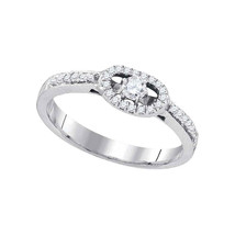 10kt White Gold Round Diamond Solitaire Bridal Wedding Engagement Ring 1... - £373.88 GBP