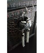 Mint shaped tassel lamp work earrings - $28.15