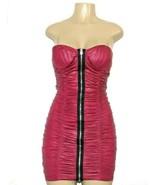 ❤️SYMPHONY Bodycon Dress Strapless Ruched Zipper Stretch Pink Medium NEW... - $23.74