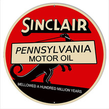 "Sinclair Motor Oil Reproduction Gas Station Sign 14""x14"" Round - $25.74"