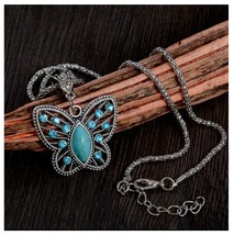 Turquoise Butterfly Pendant Necklace With Chain, Antique Silver Vintage ... - $3.99