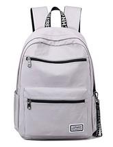 H HIKKER-LINK Solid Color Laptop Backpack College School Bag Bookbag Medium Gray