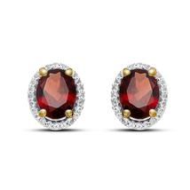 Oval Shape Red Garnet 14k Gold Plated 925 Sterling Silver Women's Stud Earrings - $45.88