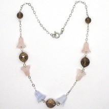 SILVER 925 NECKLACE, BLUEBELLS, FLOWERS, BELLS, PINK QUARTZ, CHALCEDONY image 2