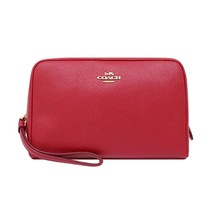 NWT COACH Cosmetic Make Up Case Pouch Wallet Travel Bag Leather Red Pink... - $57.42