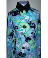 Aqua Black White Floral Swimsuit Weight Lycra Stretch Fabric 1 yard 30 i... - $40.00